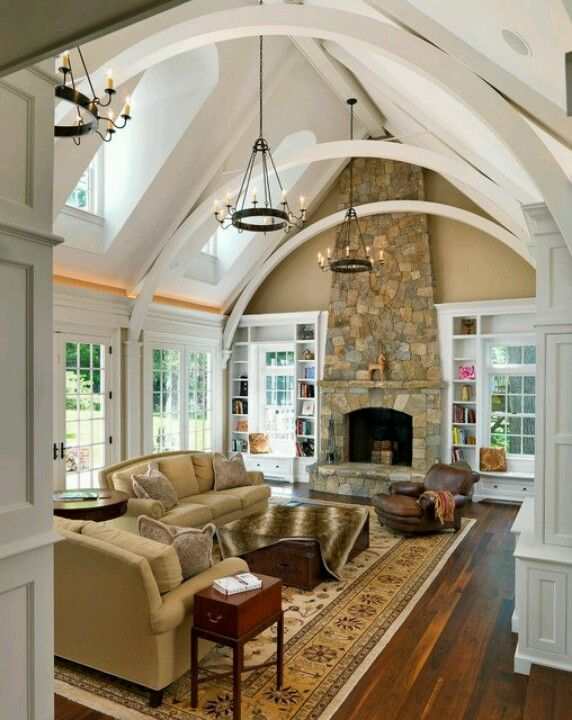 Ideas How To Decorate A Room With A Vaulted Cathedral Ceiling House Traditional Family Rooms Dream House
