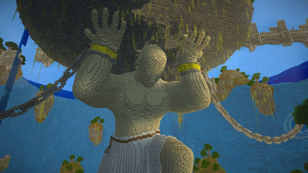 Atlas Can Barely Hold Our New Build Minecraft Statues Amazing