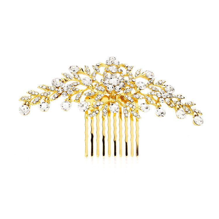 Popular Crystal Wedding or Prom Comb with Shimmering Gold Leaves