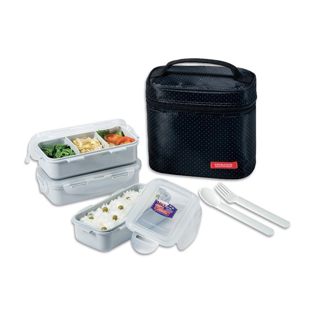 Lock & Lock Brotzeitbox Lunch Box Bento Set w/Chopstics - HPL754DB COMBO, Black: Amazon.de: Küche & Haushalt