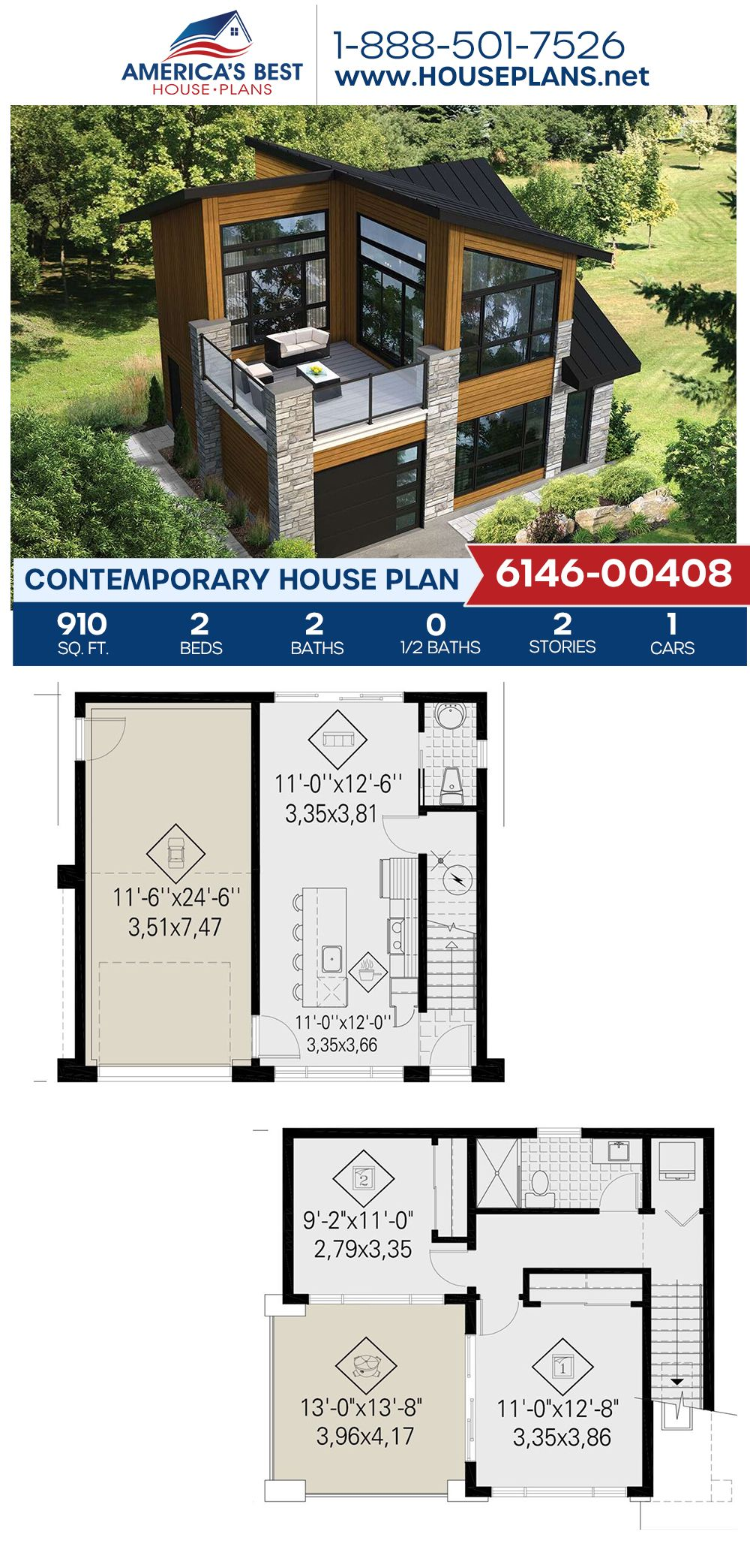 If you love the Contemporary style, get to know Plan 6146-00408! This Contemporary home design offers 910 sq. ft., 2 bedrooms, 2 bathrooms, a kitchen island, an open floor plan, and a one car garage. #contemporaryhome #contemporarystyle #openfloorplan #architecture #houseplans #housedesign #homedesign #architecturalplans #newconstruction #floorplans #dreamhome #dreamhouseplans #abhouseplans #besthouseplans #newhome #newhouse #homesweethome #buildingahome #buildahome #residentialplans