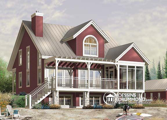 Plan de Maison unifamiliale W3937, plan de maison de style chalet et