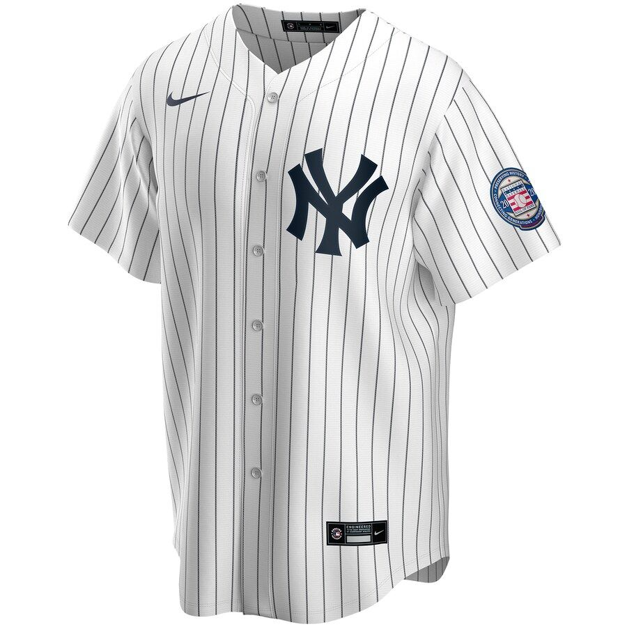 Men S New York Yankees Derek Jeter Nike White Navy 2020 Hall Of Fame Induction Replica Jersey In 2020 New York Yankees Jersey Yankees