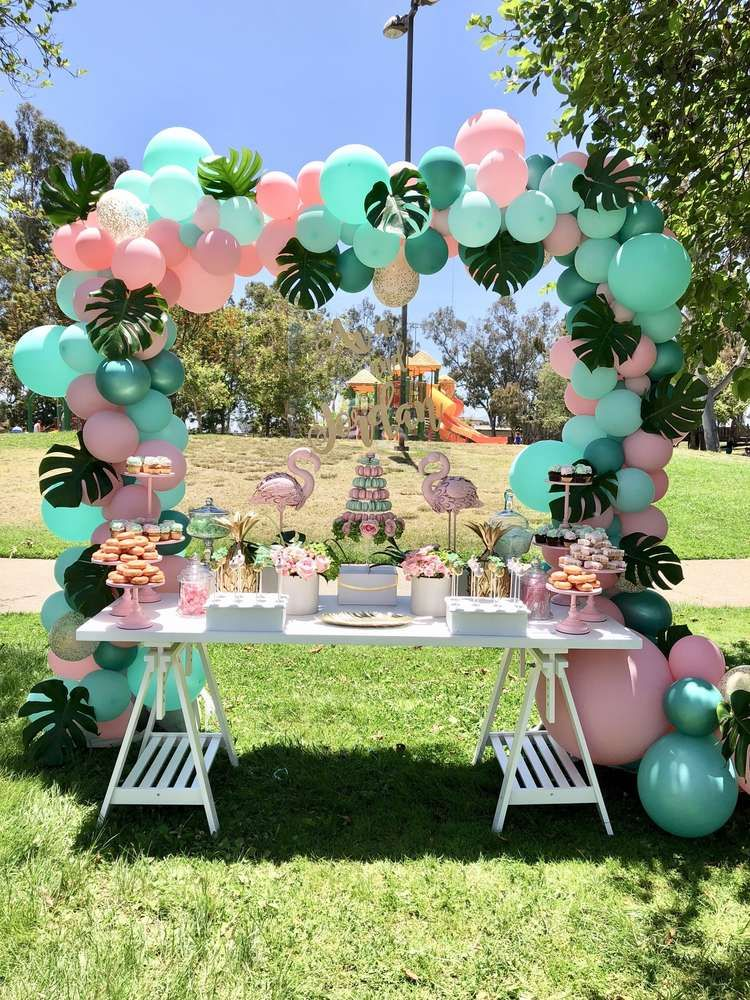 Loving this Flamingo dessert table The balloon