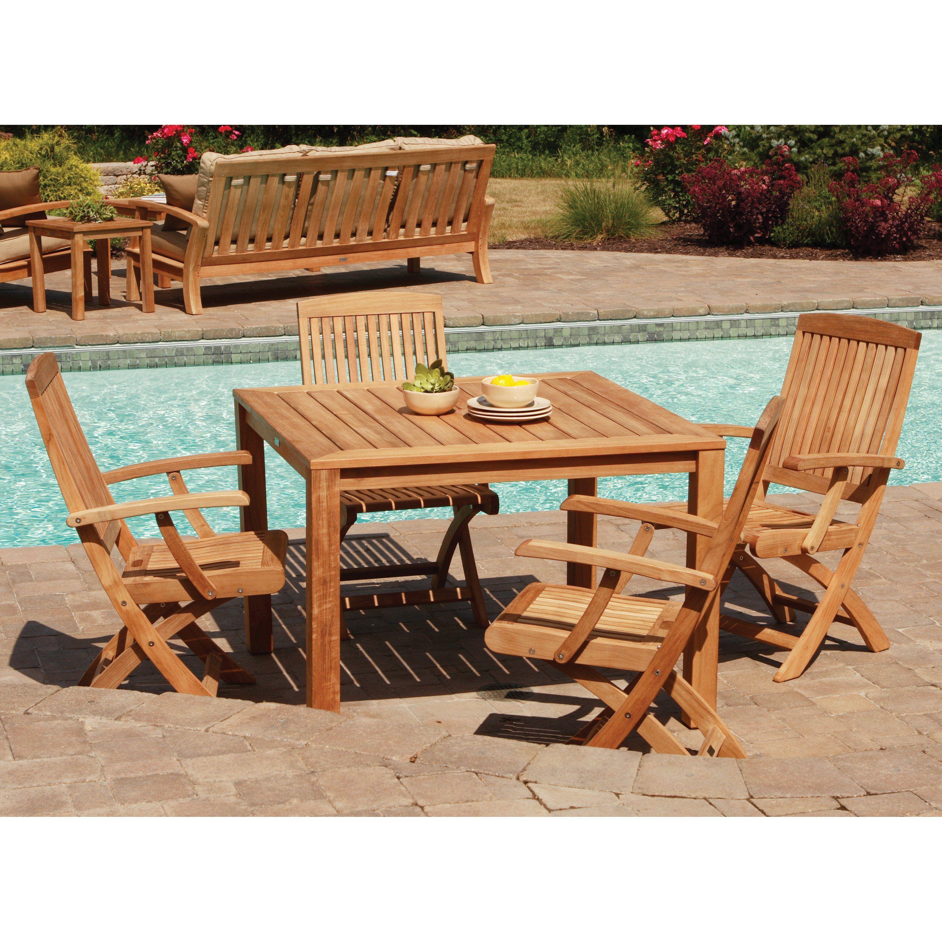 Outdoor Three Birds Braxton Square Teak Dining Set - Seats 4 - TB149