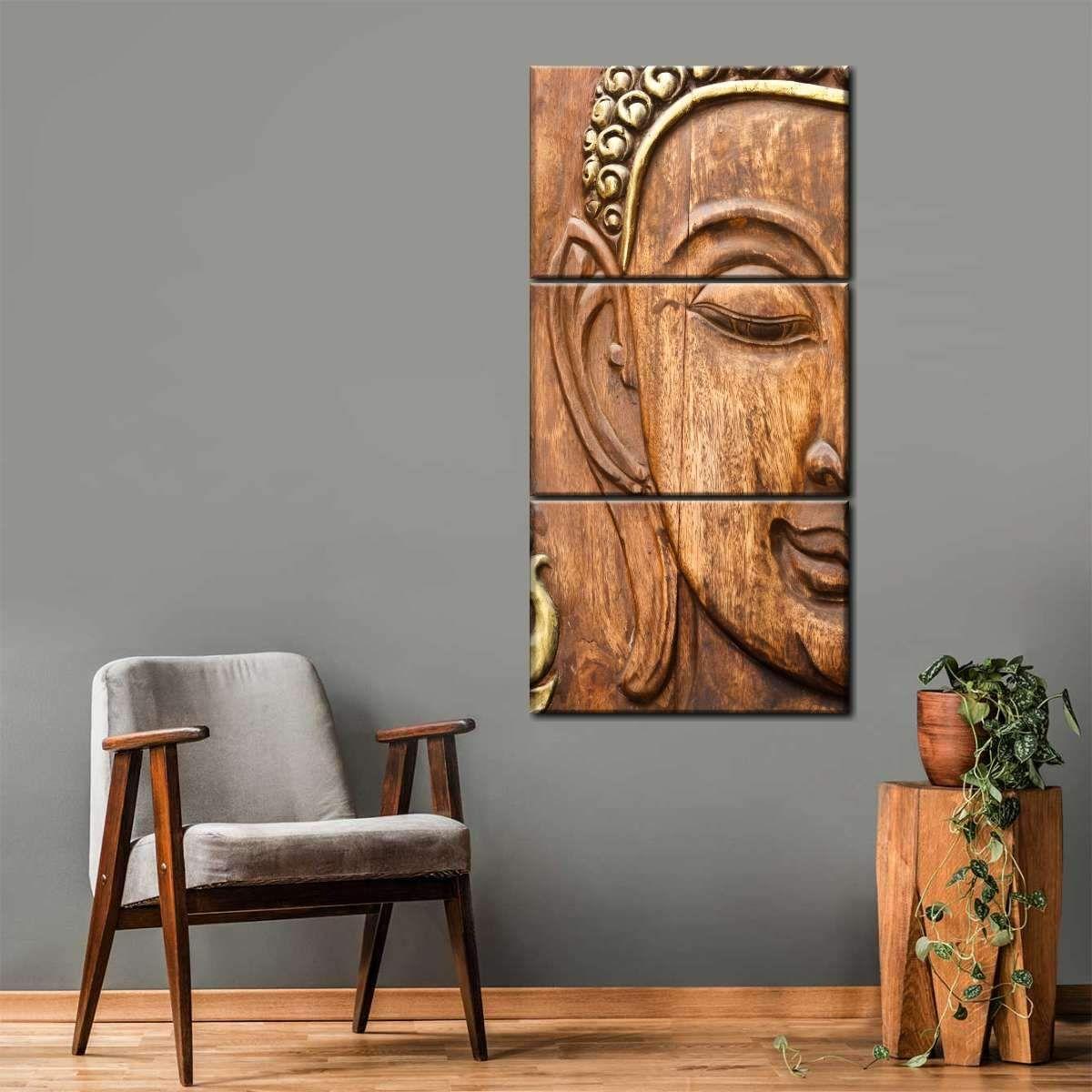 Wooden Buddha Multi Panel Canvas Wall Art Canvas Wall Art Multi Panel Canvas Wall Art