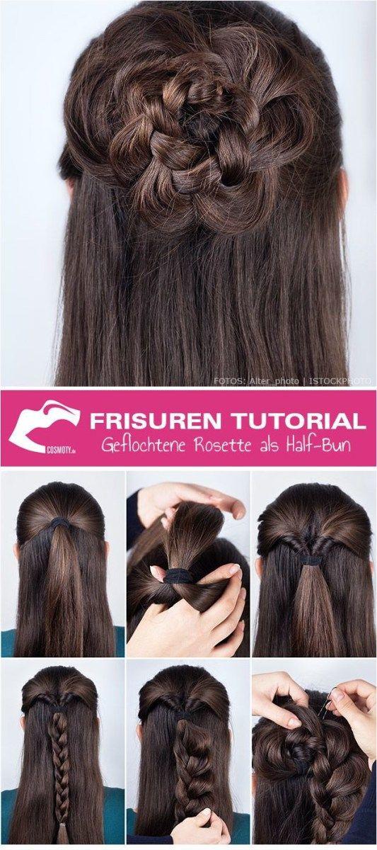 Frisuren Tutorial Geflochtene Rosette Als Half Bun Frisuren Trend Frisuren Haarmodelle Hair Tutorial Hair Styles Long Hair Styles