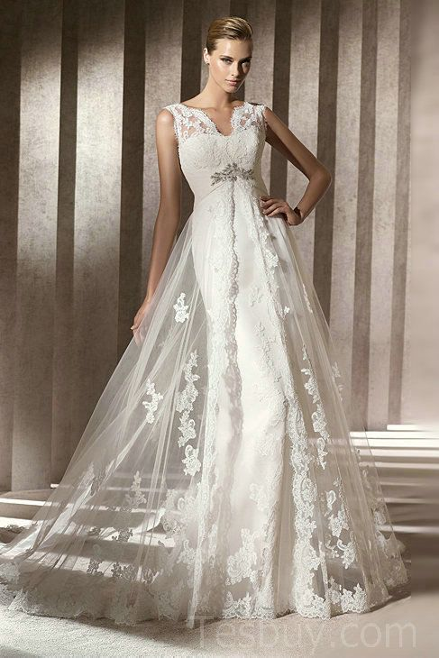 V neck mermaid satin vintage wedding dress with gorgeous for Lace wedding dress overlay