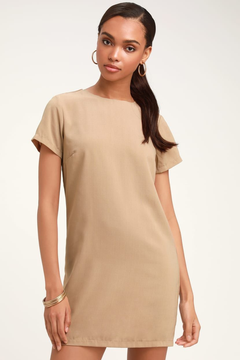 72ac159c2813 Lulus | Shift and Shout Beige Shift Dress | Size Large | 100 ...