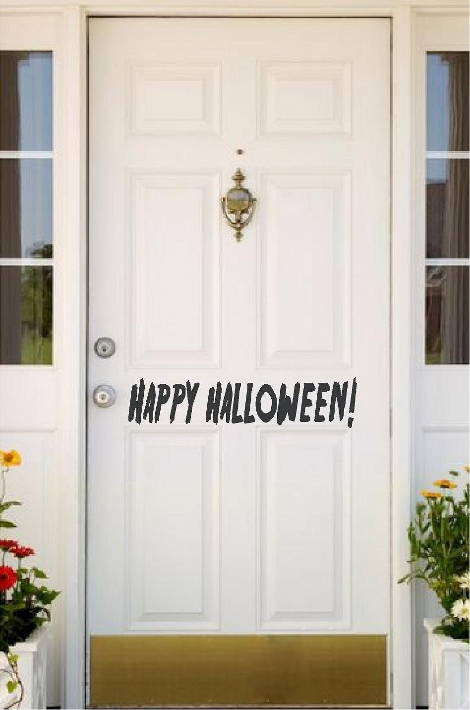 Happy halloween door decal halloween wall decal holiday decal halloween decal halloween decoration