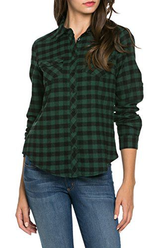 d8584de1de3891cf4e2efcdcd8643b5a noble u women's roll up sleeve flannel button up shirt (l,Noble U Womens Clothing