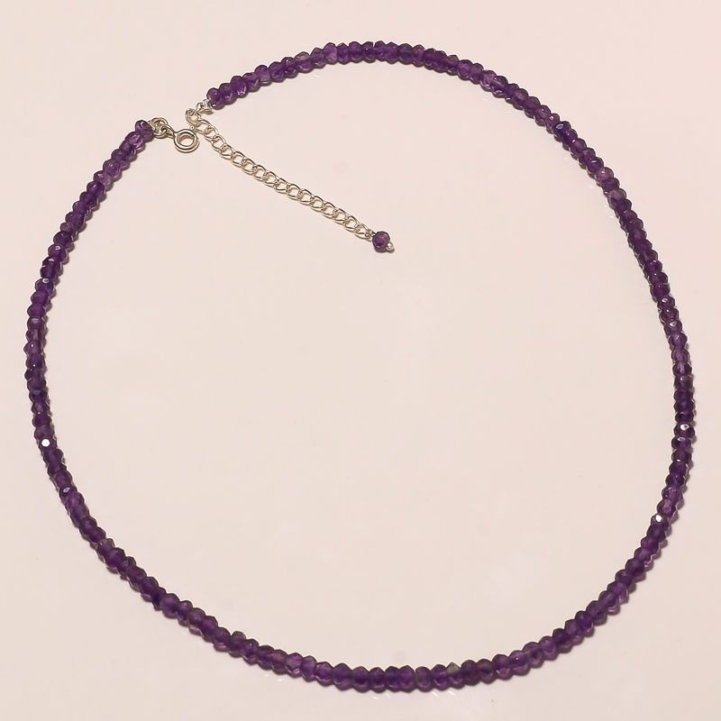925 STERLING SILVER NATURAL PURPLE AMETHYST HANDMADE FASHION JEWELRY NECKLACE 18 #Handmade #Chain