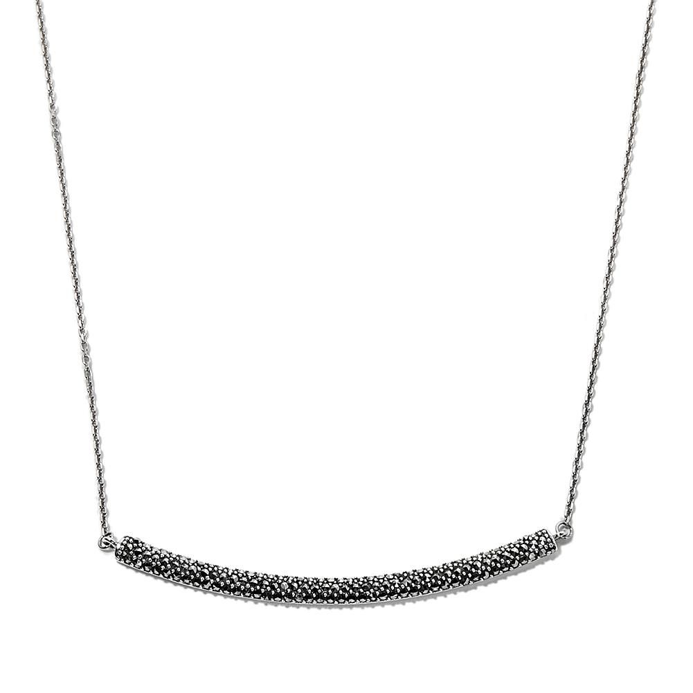 """Gray Marcasite Sterling Silver Pave' Bar 18"""" Necklace"""
