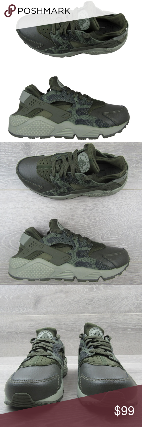 9a6ce64d8ce2 Nike Air Huarache Run Premium Running Shoes Size 9 Nike Air Huarache Run  Premium Running Shoes Women s Python Green   Black Colorway Style - 683818  302 ...
