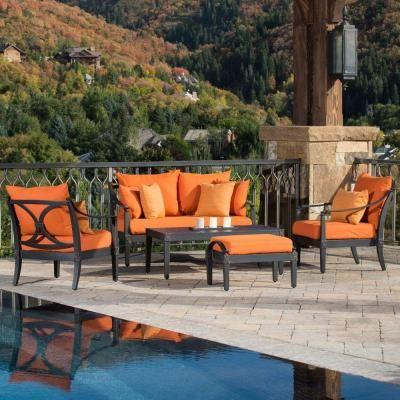 Rst Brands Astoria 5 Piece Patio Seating Set With Tikka Orange