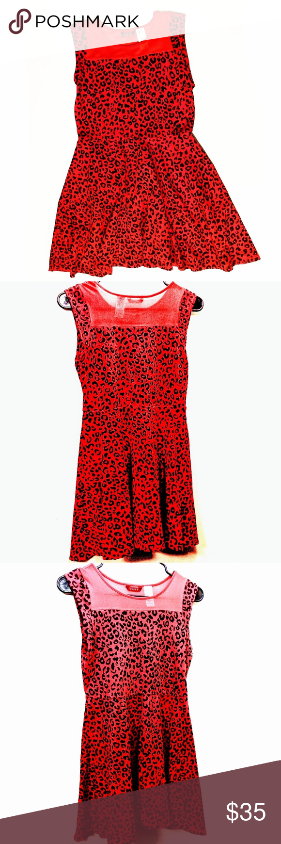 9f08b61140 GUESS Red Cheetah Leopard Print Dress This dress is labeled as a medium