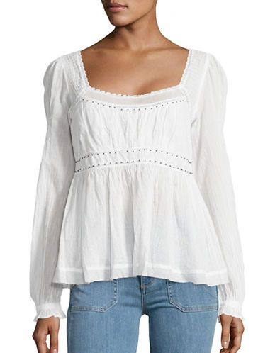 103f40ae7bebe Free People Beaded Lace-Trimmed Peasant Top Women s Ivory Medium ...