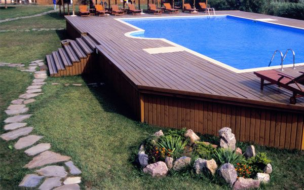 Above ground pool decks above ground pool deck designs for Above ground pool house ideas