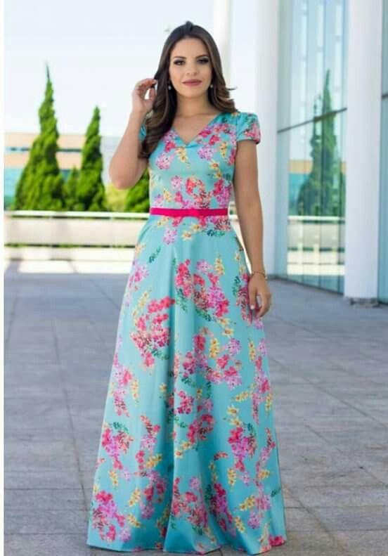 Vestido longo estampado floral localizado | Vestidos longos