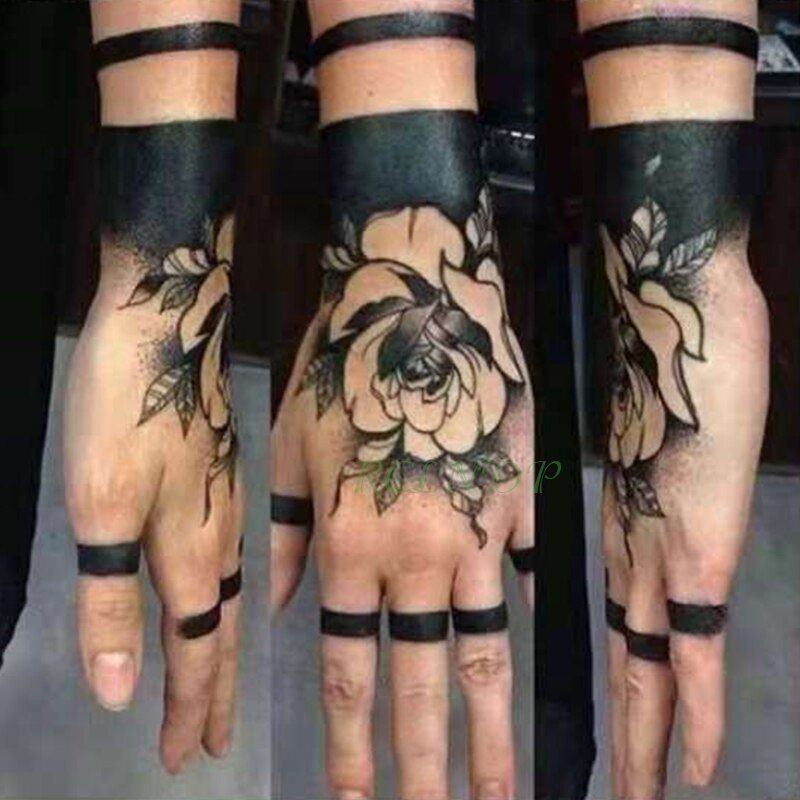 Waterproof Temporary Tattoo Sticker Different Charm Rose Black Tattoos Rings tatto flash tatoo fake tattoos for men women