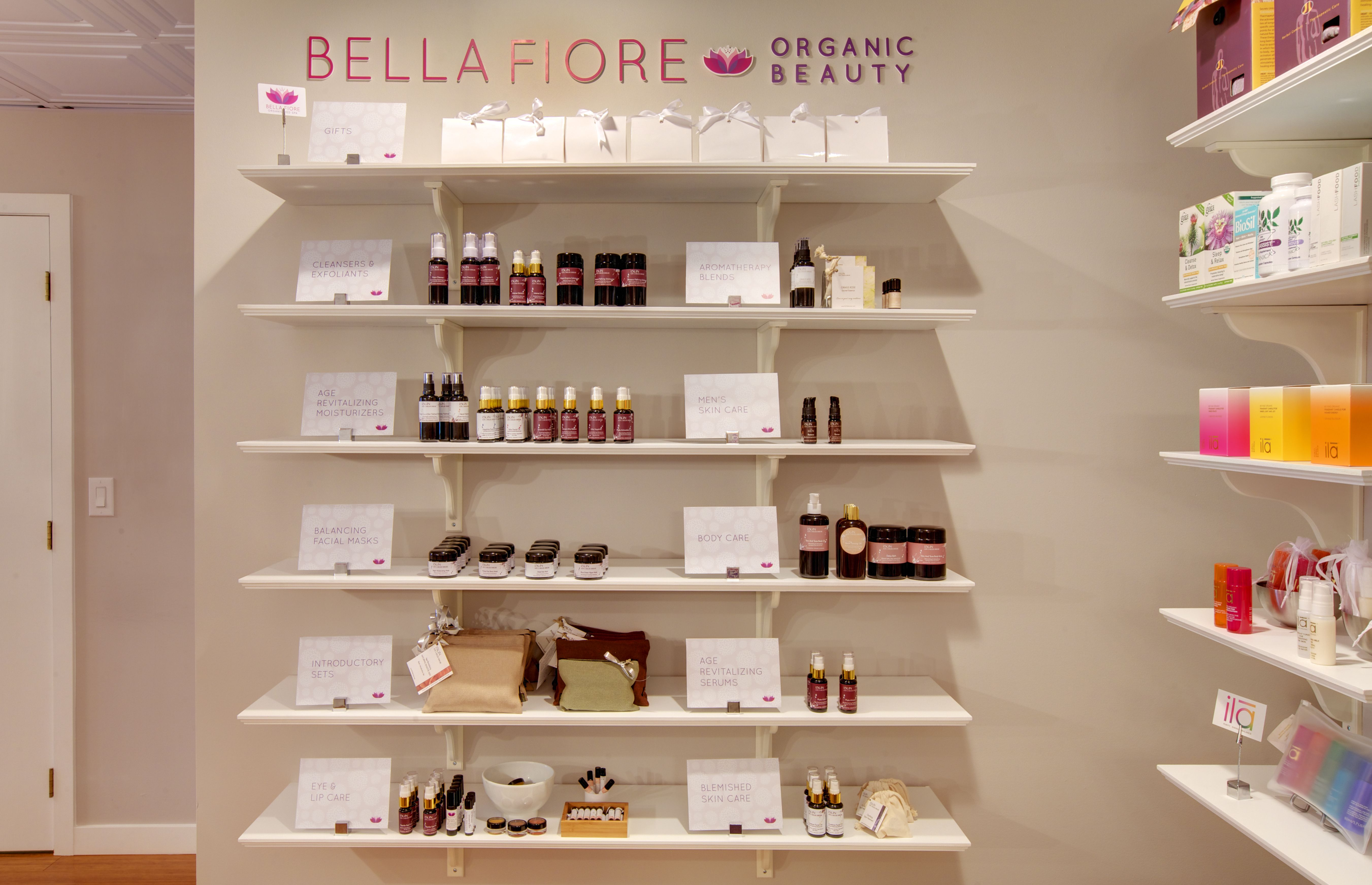 Bella fiore spa the spa needed a place where products for Salon fixtures