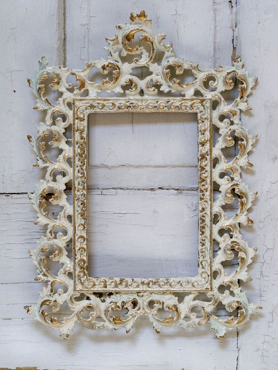 Vintage Iron Hand Painted Shabby Chic Frame By Anitasperodesign