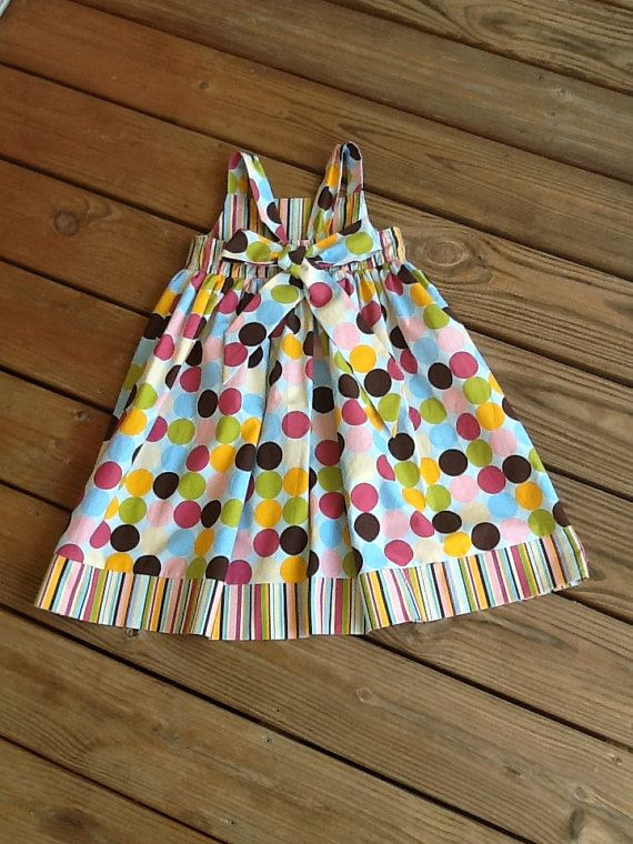 Girls peasant dress with back bow and ruffle by EverythingSorella, $58.50