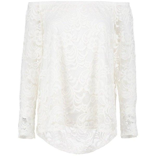Boohoo Alexia Lace Off The Shoulder Top | Boohoo (79.690 COP) ❤ liked on Polyvore featuring tops, flat top, bralette crop top, off shoulder tops, white off shoulder top and white lace top