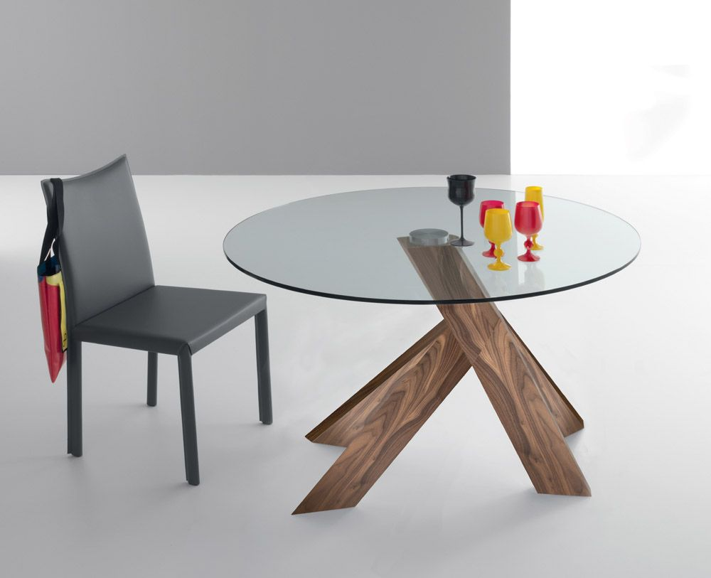 Round Modern Stretched Glass Top Dining Table Feature Wood Base