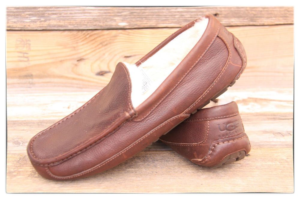 d9462ad5e24 UGG Australia Mens Ascot China Tea Brown Leather Slippers US 8 UK 7 ...