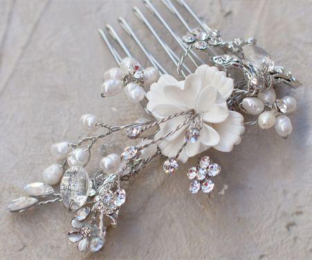 Bridal Flower Hair Comb ~ Juliet