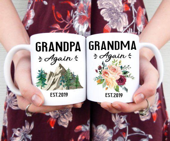 Grandpa & Grandma Again Mug Set | Pregnancy Reveal Announcement, Grandparents Again Reveal, Baby Rev #newgrandma