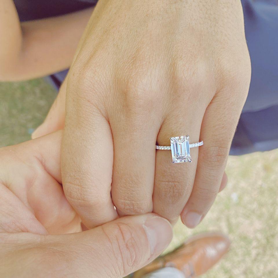 Create a one of a kind custom diamond ring, like this beautiful emerald cut diamond solitaire style ring. Contact Ascot Diamonds.  #ascotdiamonds #emeraldcutdiamond #engagementrings
