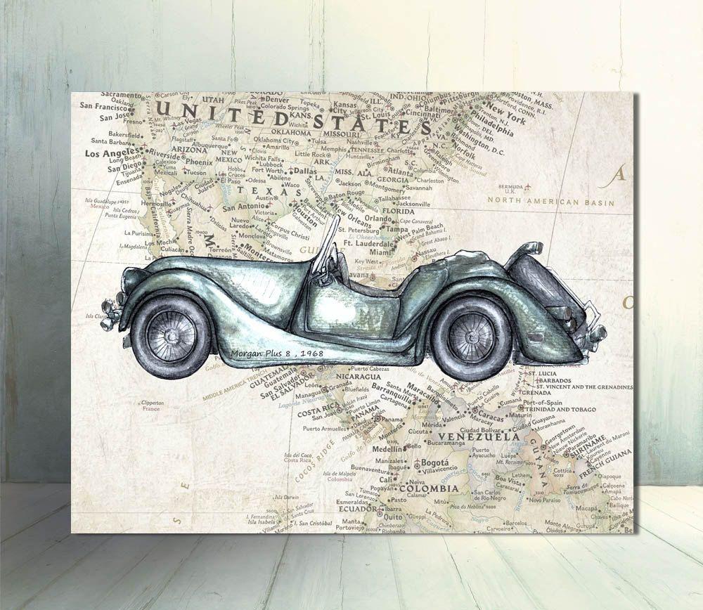 Vintage Car On Map Printable Decor Retro Cars Art Instant Download