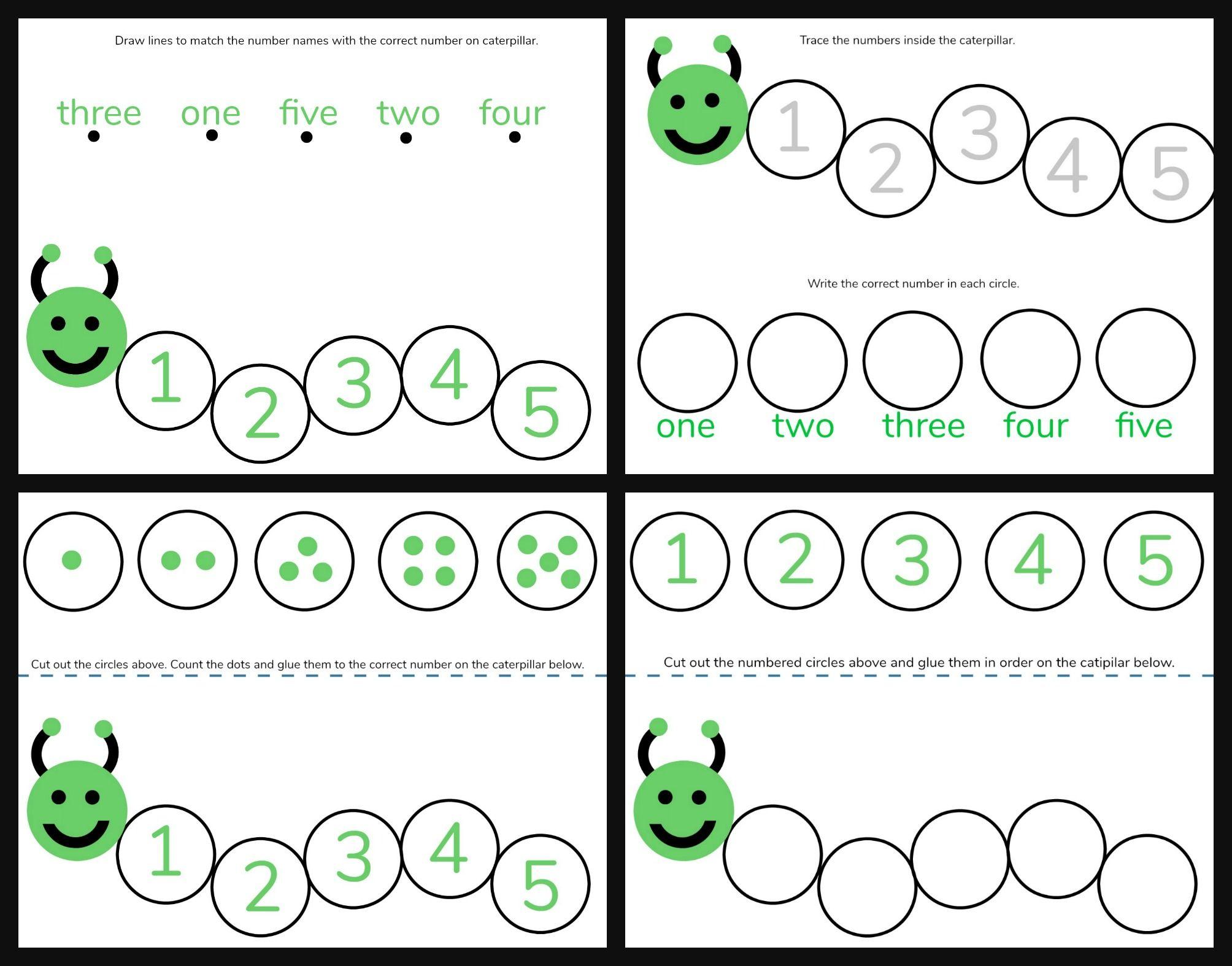 Caterpillar Math Free Printable Preschool Worksheets Numbers 1 5 Printable Preschool Worksheets Free Math Preschool Math Worksheets [ 1575 x 2008 Pixel ]