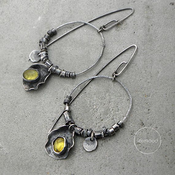 Amber earrings oxidized sterling silver and by studioformood