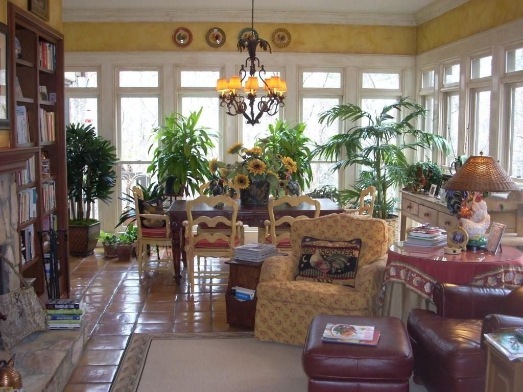 Sunroom Designs. Refreshing Sunroom Interior With Greenery Treatments And  Accessories, And Cool Trailing Window