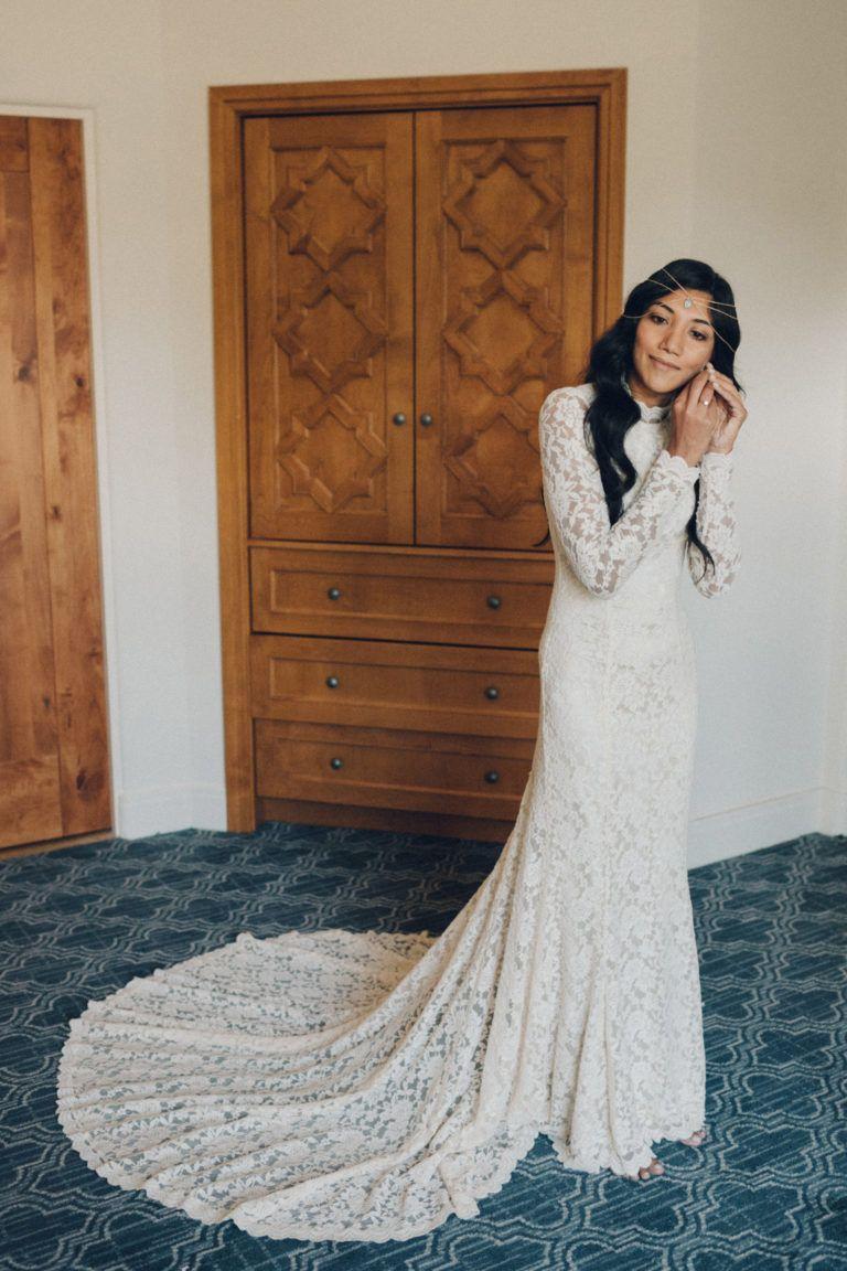 Boho bride in ojai ca bohemian long sleeve lace dress from