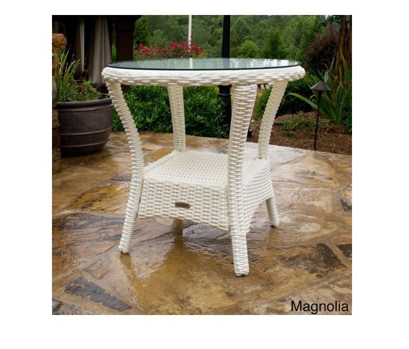White Wicker Side Table Outdoor Patio All Weather Furniture Tempered Glass  Top #TortugaOutdoor