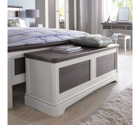 Ottomans Deacon Beige Upholstered Blanket Box: Hampton Soft Grey & Weathered Oak Blanket Box