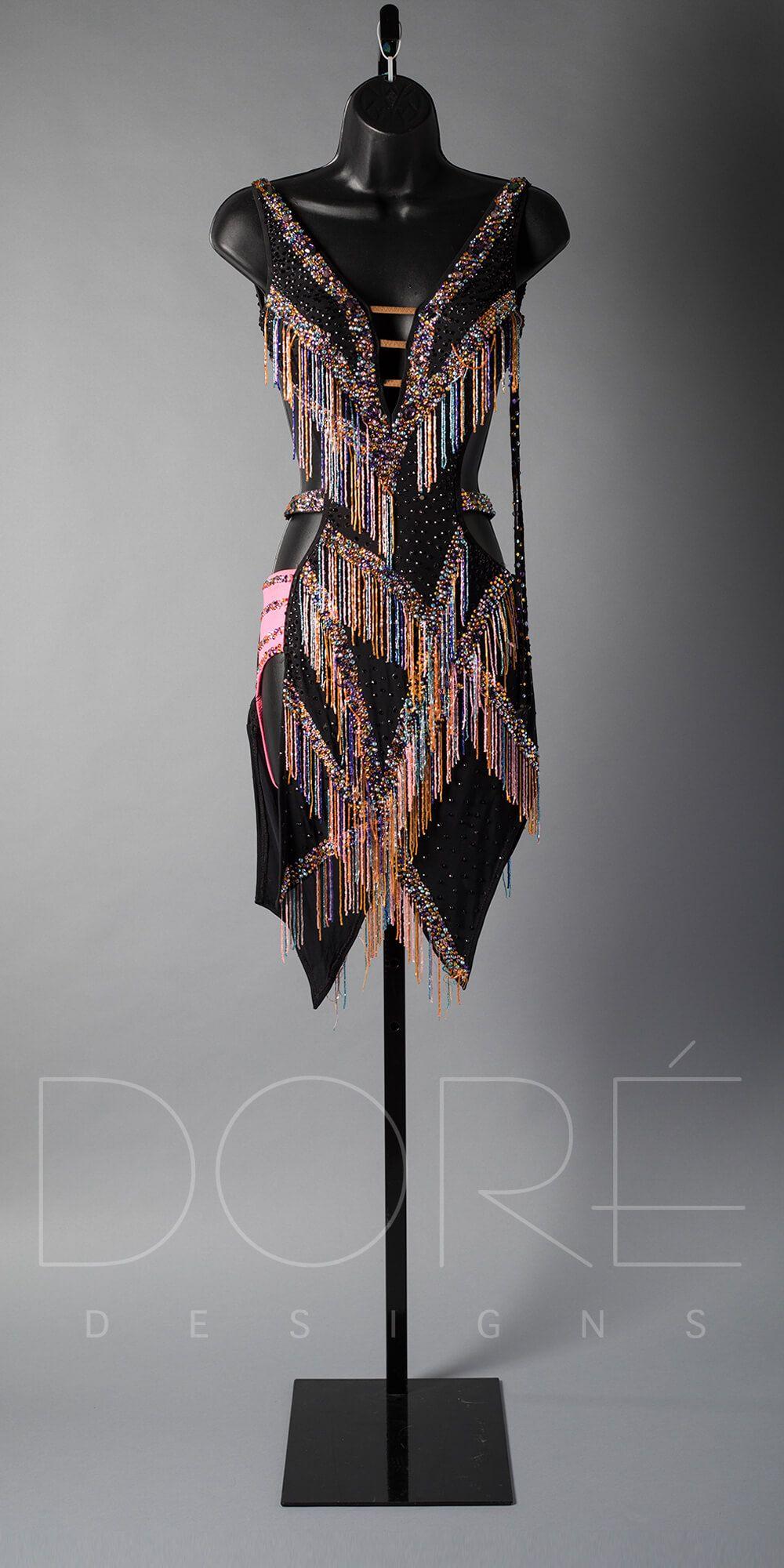 Black Latin W Rainbow Fringe Dance Dresses Latin Dance Dresses Ballroom Dance Dresses [ 2000 x 1000 Pixel ]