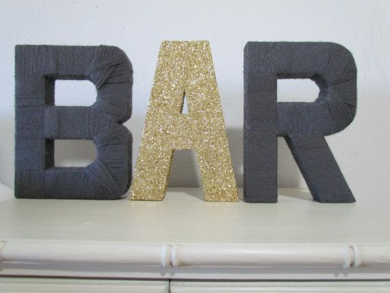 Glitter and Yarn Wedding Decor- Stand Up Letters on Etsy, $50.00