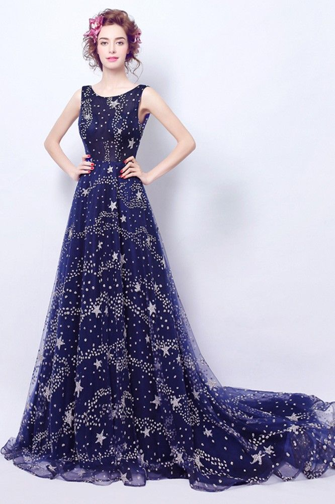 Sparkly Dark Blue Long Formal Dress With Stars Train Agp18030