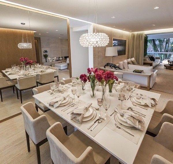 Decoracao De Sala Branca ~ mesa de jantar branca laqueada luminaria Caboche da Foscarini