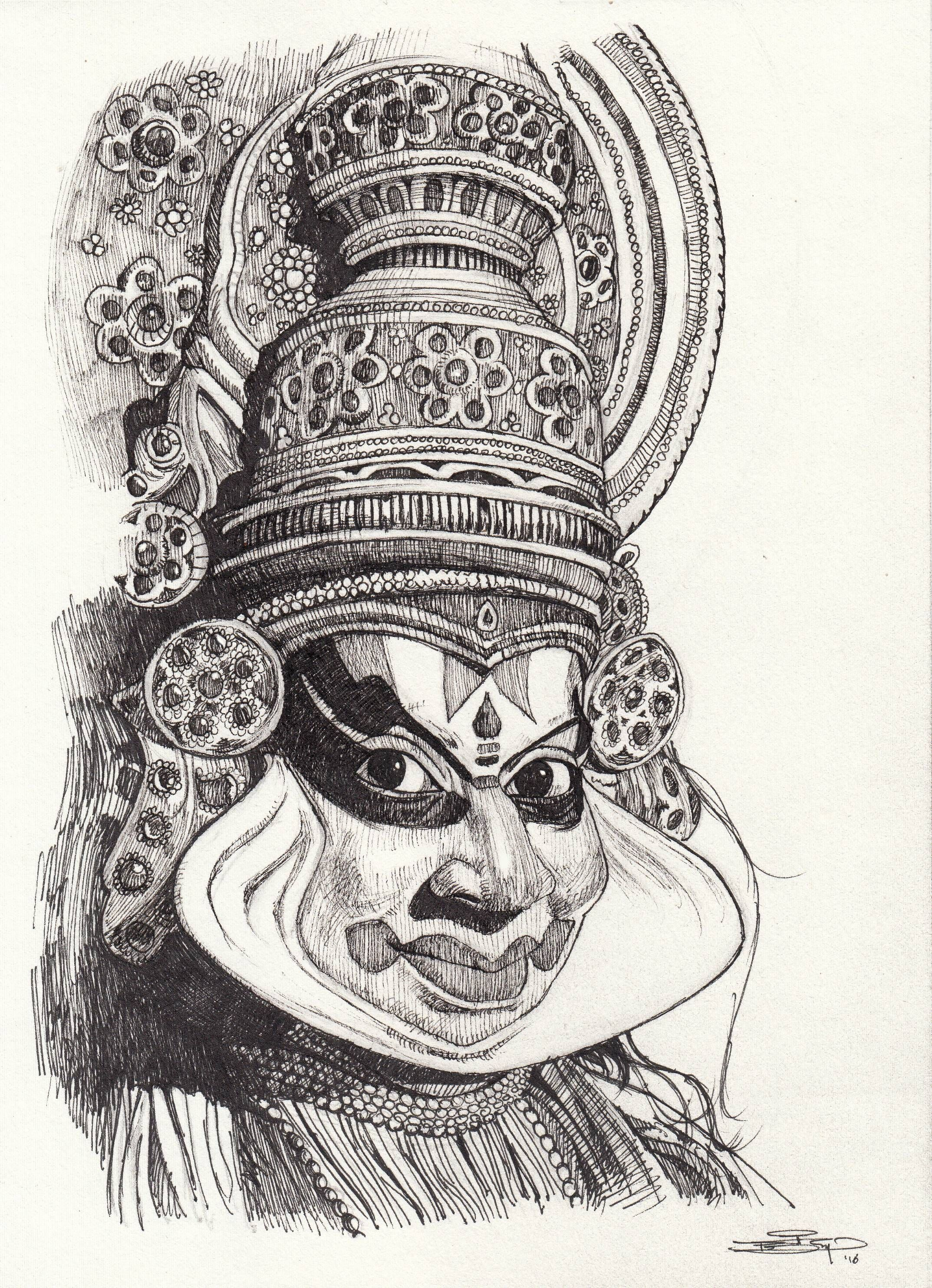 Kathakali ink 7 5 x 10 5 art in 2019 pencil art art sketches