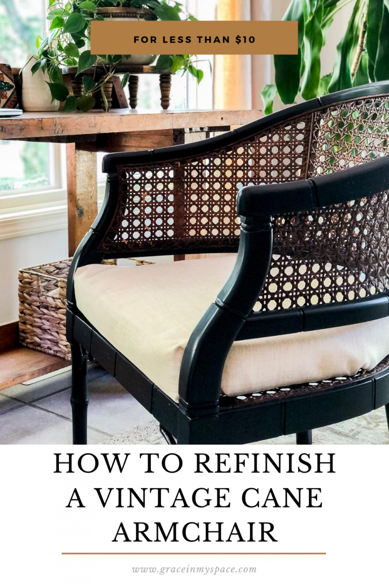 Antique cane chairs are making a comeback! Learn how to refinish a cane armchair in one afternoon with this easy tutorial. #fromhousetohaven #canechair #canearmchair #rattanchair #canedchairrepair #canefurniture #vintagefurniture