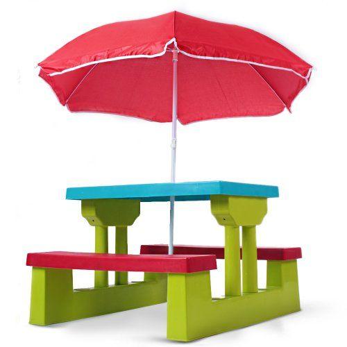 ensemble de jardin pour enfant 2 bancs parasol table infantastic http - Table Et Chaise De Jardin Pour Enfant