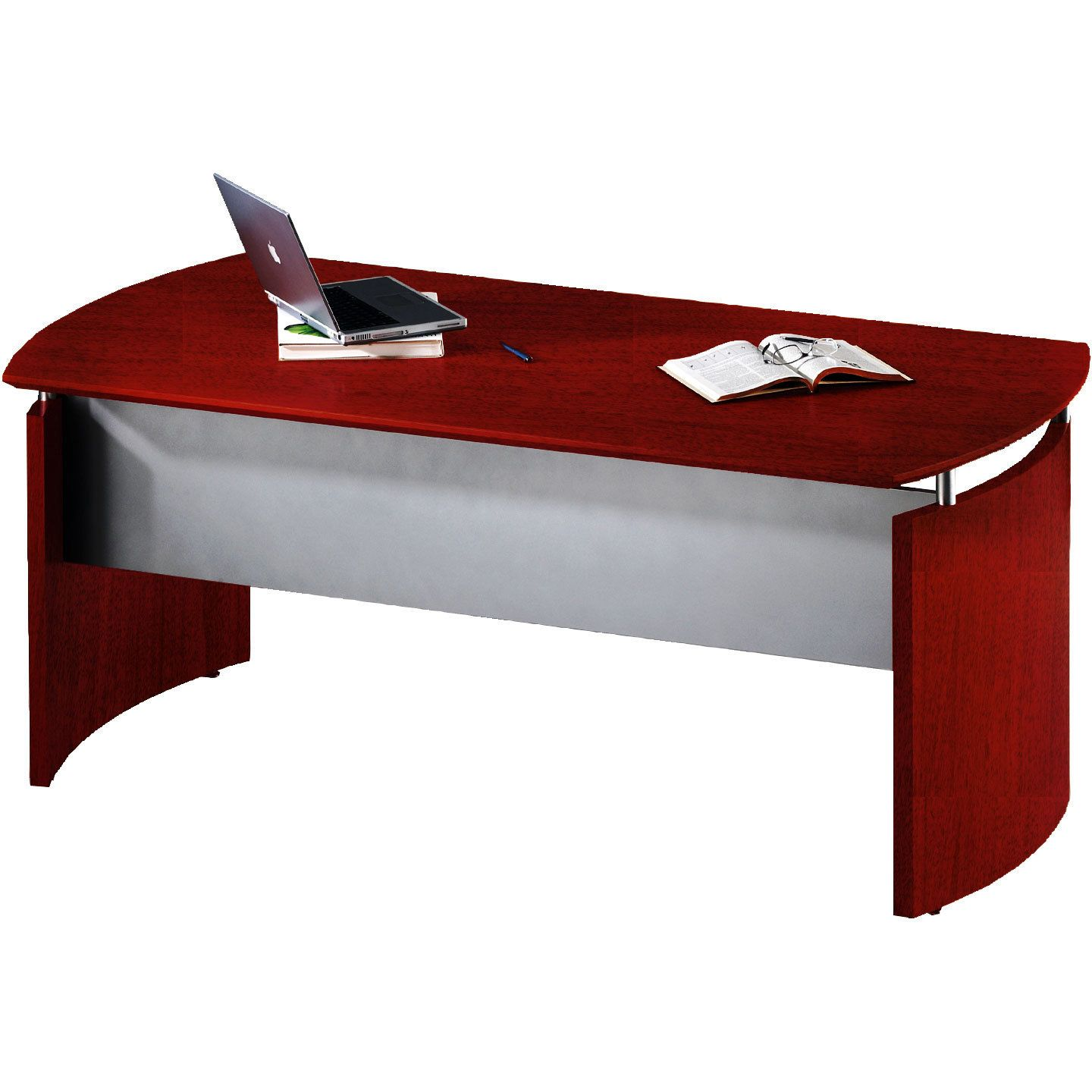 "Mayline Napoli Curved 72""W Desk With Modesty Panel And"