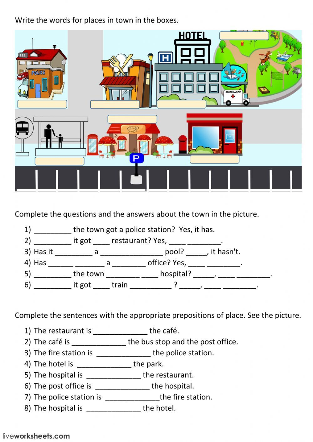Places in town interactive and downloadable worksheet. You can do the  exercises online or download the…   English prepositions [ 1413 x 1000 Pixel ]