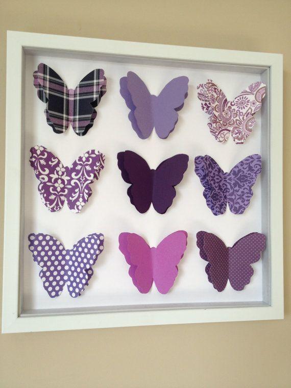 Purple butterfly 3d paper art 12x12 shadow box frame 3d paper art shadow box frames and 3d for Living in a box room in your heart lyrics